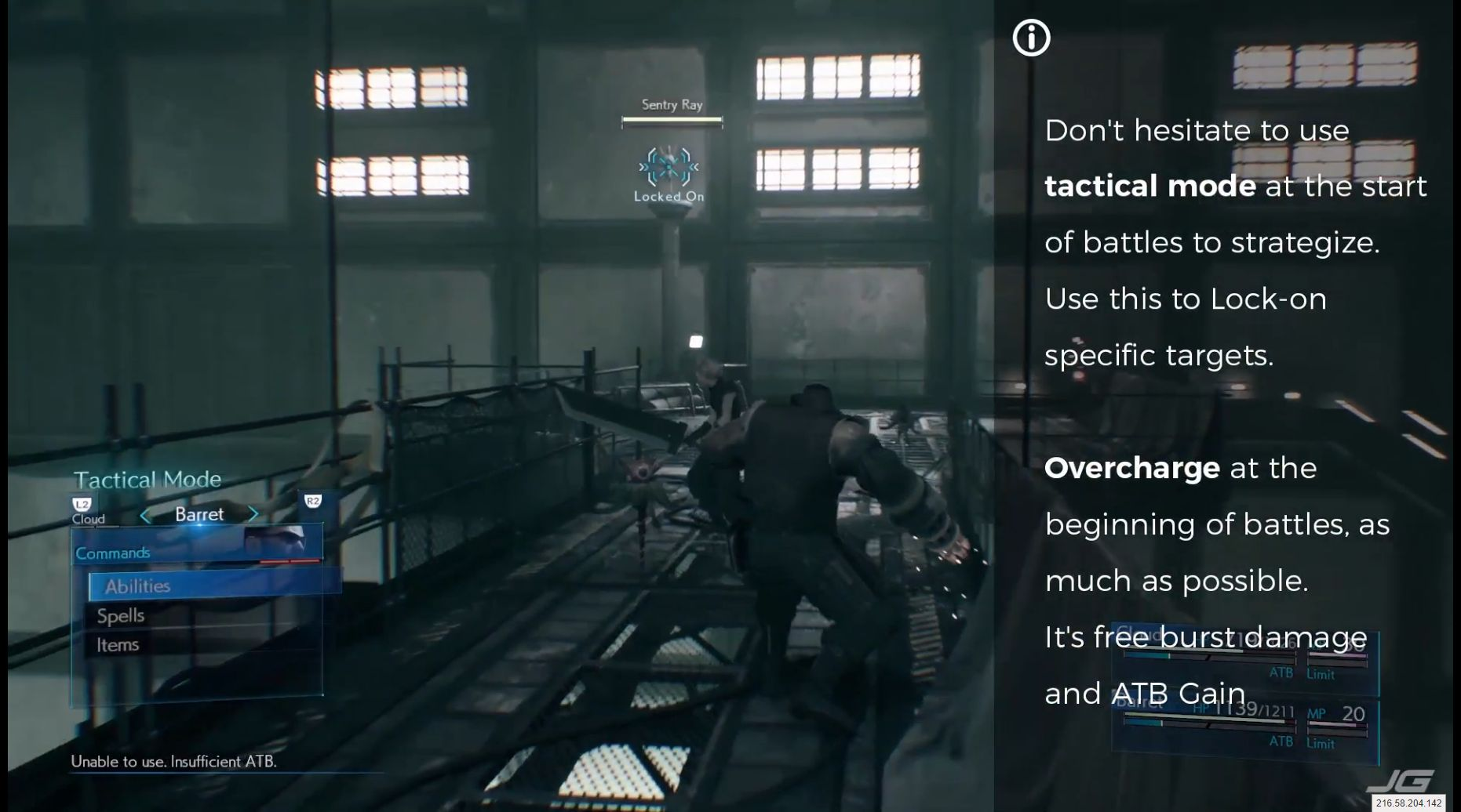 Don't hesitate to use tactical mode at the start of battles to strategize, Use this to (R3) Lock-on specific targets, (Triangle) Overcharge at the beginning of battles, as much as possible, It's free burst damage and ATB Gain