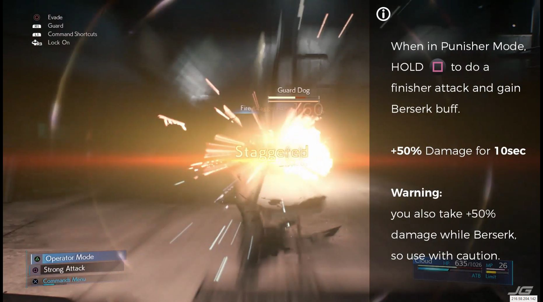 When in Punisher Mode, HOLD (Square) to do a finisher attack and gain Berserk buff. +50% Damage for 10sec