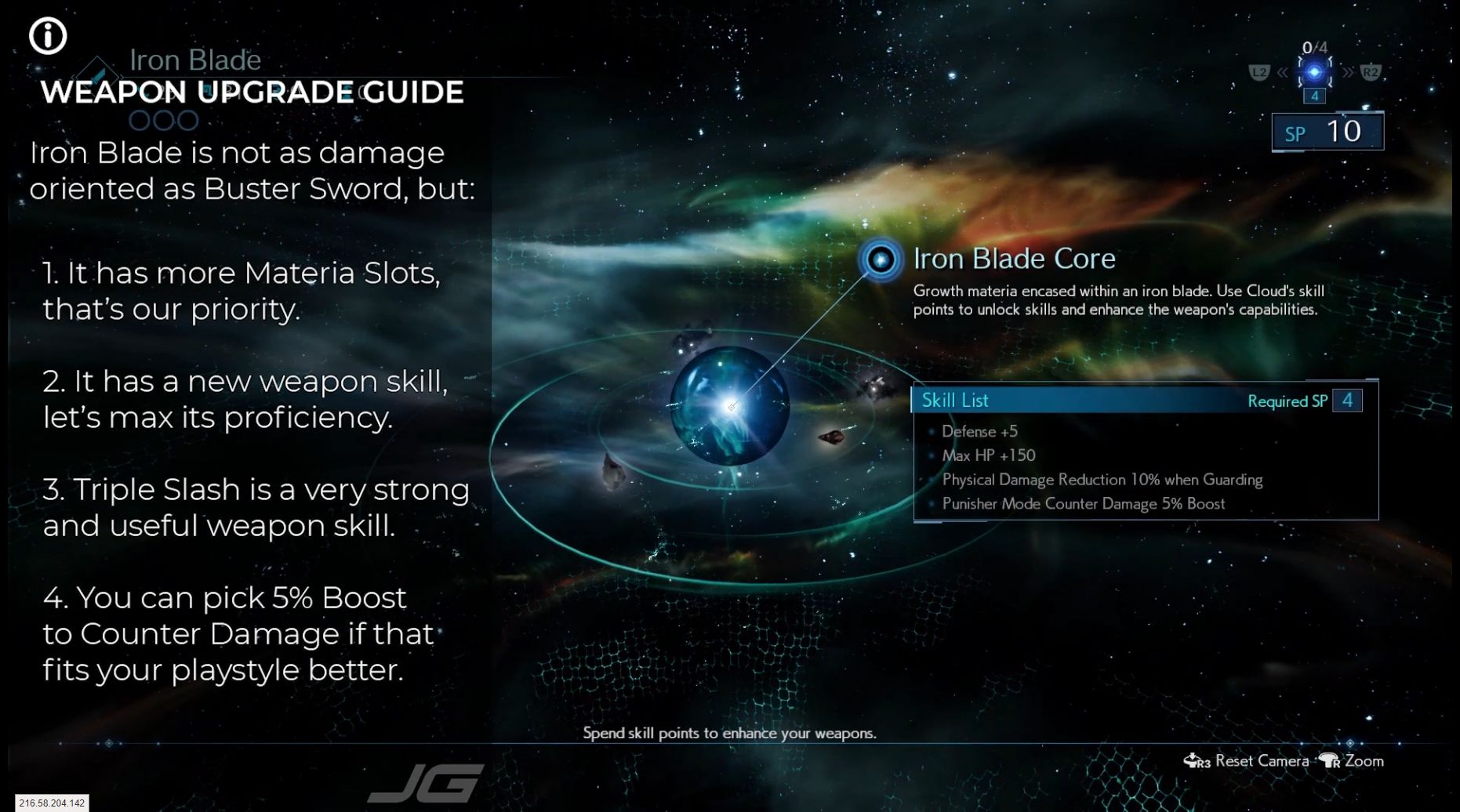 Weapon upgrade guide for Cloud - Iron Blade is not as damage oriented as Buster Sword but 1 It has more Materia slots, our priority 2 It has a new weapon skill, we need to max its proficiency 3 It is a very strong and useful weapon skill 4 Here you can pick 5percent Boost to Counter Damage if you prefer