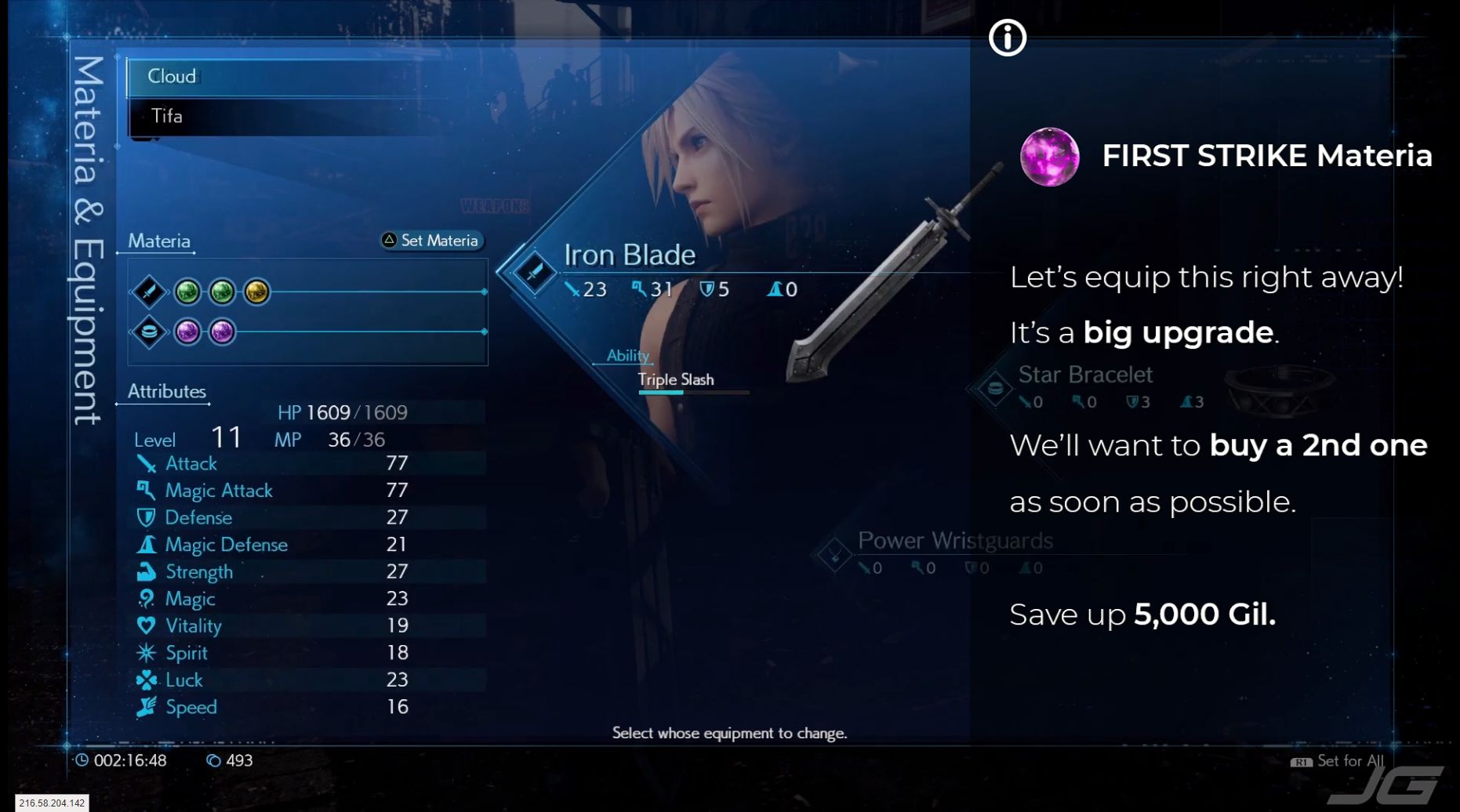 FF7 Remake - Lets equip First Strike Materia right away - Its a big upgrade - Well want a 2nd one as soon as possible,so save up 5000 Gil