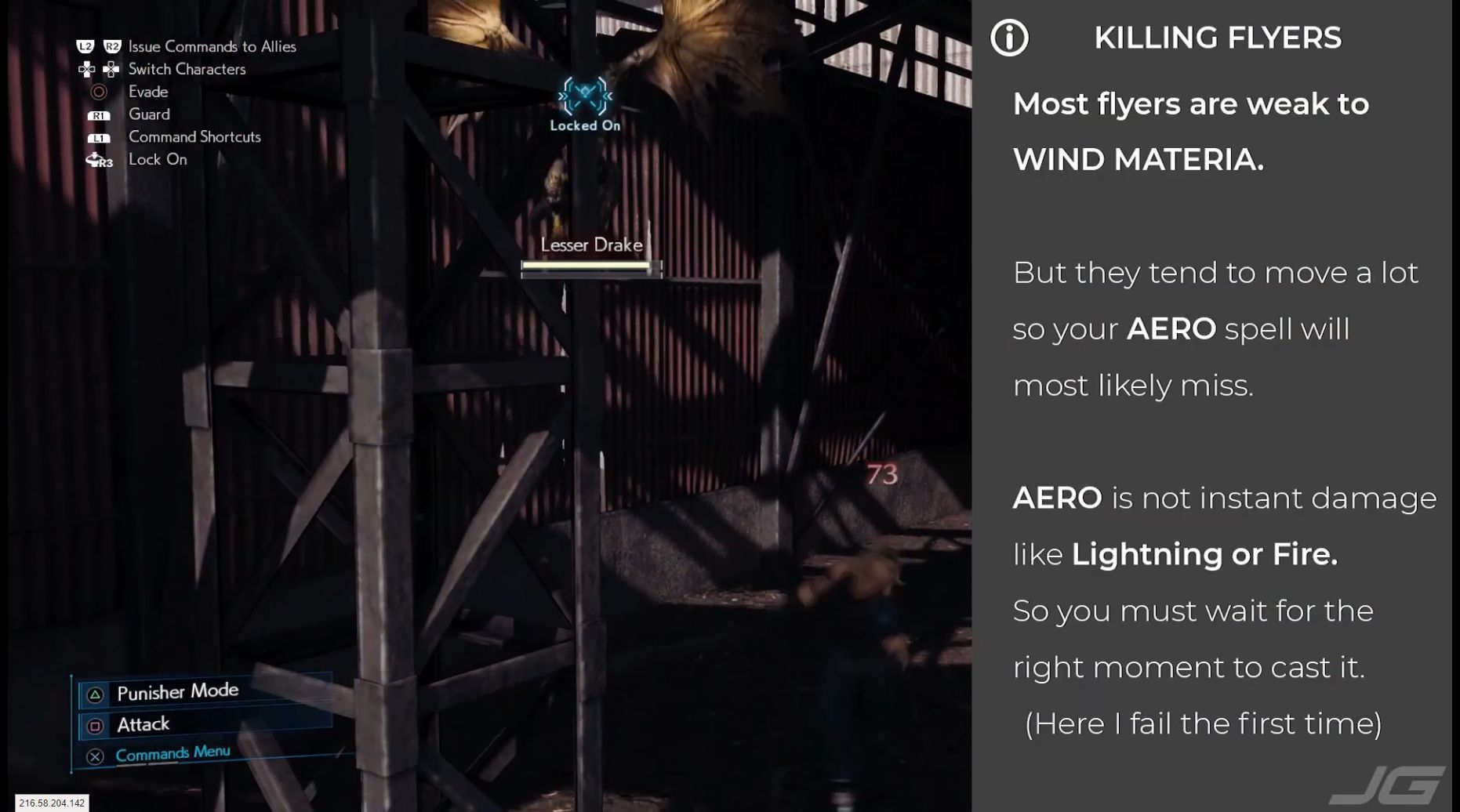 FF7 Remake - Flyers are weak to Wind Materia - But they tend to move a lot and to dodge Aero which is not direct damage like Thunder or Fire - You must wait for the right moment to cast Aero - Here I fail the first time