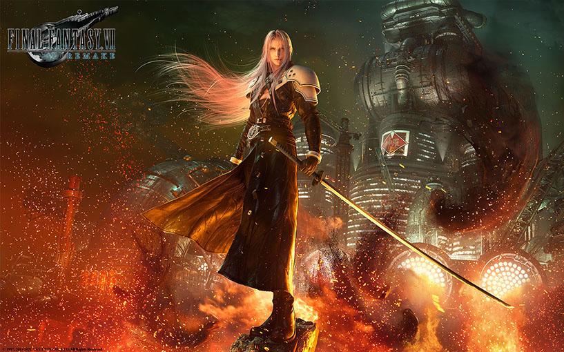 FF7 Remake Sephiroth standing over burning Midgar