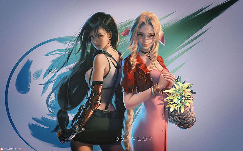 FF7 Remake Tifa & Aerith artwork